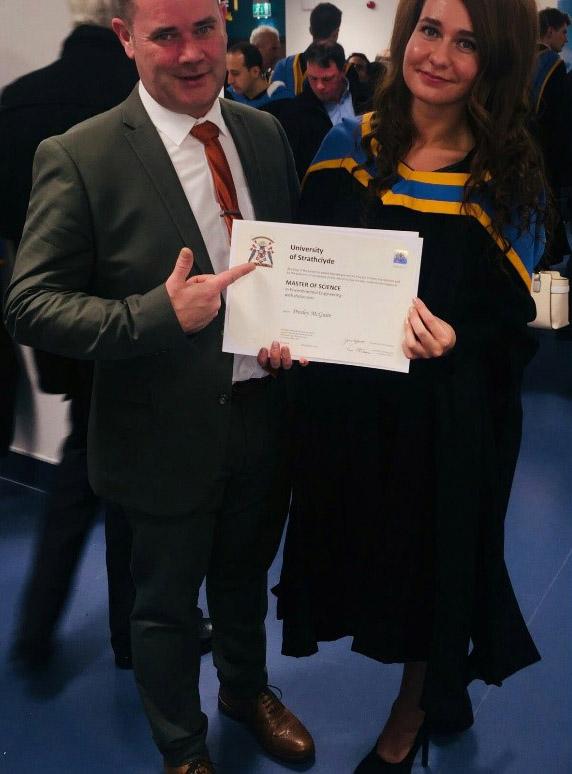 Presley receiving her masters degree in Environmental engineering